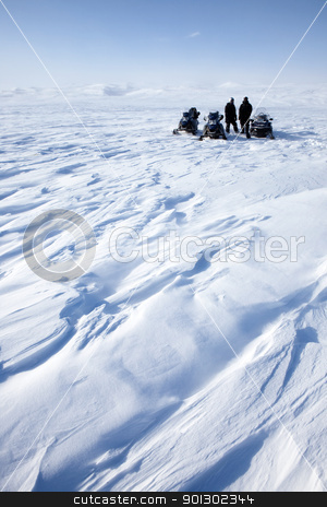 Snowmobile Expedition stock photo, A barren winter landscape with a group of people on a snowmobile expedition by Tyler Olson