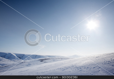 Winter Snow Wilderness stock photo, A wilderness landscape from the island of Spitsbergen, Svalbard, Norway by Tyler Olson