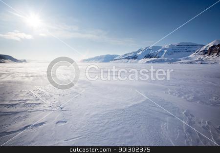Mountain Winter Landscape stock photo, A panorama landscape on Spitsbergen Island, Svalbard, Norway by Tyler Olson