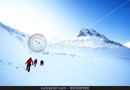 Mountain Landscape stock photo, A short trek across a winter landscape by Tyler Olson