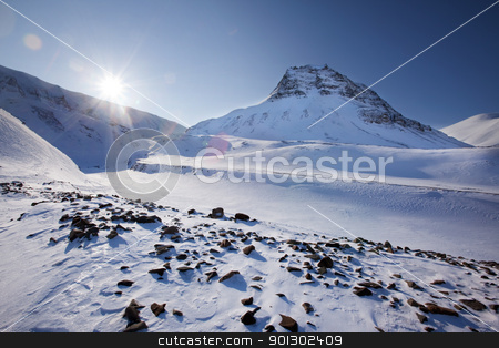 Svalbard stock photo, Mountain landscape on the island of Spitsbergen, Svalbard, Norway by Tyler Olson