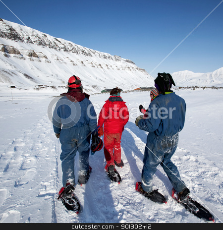 Svalbard Tourism stock photo, A group of tourists and a guide near Longyearbyen, Svalbard, Norway by Tyler Olson
