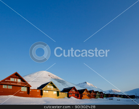 Longyearbyen Sunset stock photo, Sunset on Longyearbyen, Norway, the northern most settlement in the world. by Tyler Olson