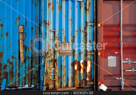 Shipping Container Texture stock photo, A background surface texture of a shipping container by Tyler Olson