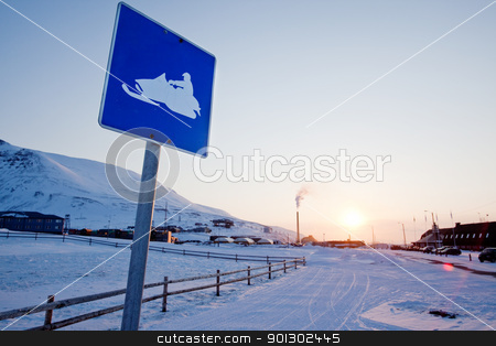 Snowmobile Sign Svalbard stock photo, A snowmobile sign in Longyearbyen, Svalbard, Norway by Tyler Olson