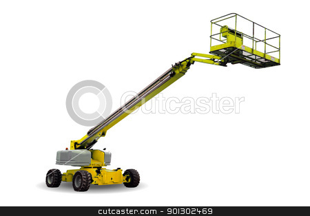 Hydraulic Lift stock photo, A yellow hydraulic lift isolated on white by Tyler Olson