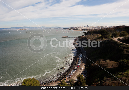 San Francisco stock photo, View of San Francisco from the Golden Gate Bridge by Tyler Olson
