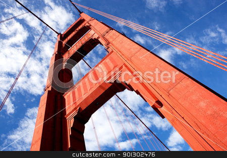 Gold Gate Bridge Detail stock photo, A detail of one of the Golden Gate Bridge towers. by Tyler Olson