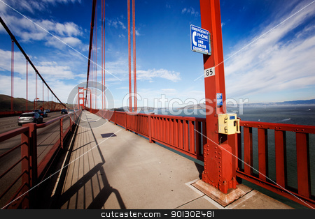 Suicide Emergency Phone stock photo, Suicide emergency phone on the San Francisco Golden Gate Bridge by Tyler Olson