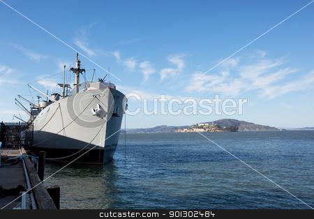 War Ship at Dock stock photo, A war ship at dock in the open ocean by Tyler Olson