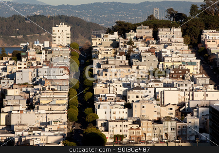 Lombard Street stock photo, A view of Lombard Street and the San Francisco bridge by Tyler Olson