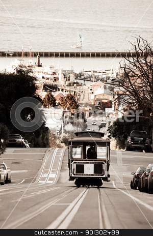 San Francisco Cable Car stock photo, A San Francisco cable car desending down Hyde Street by Tyler Olson