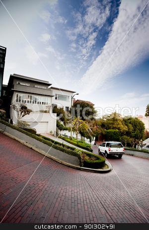 Lombard Street stock photo, Lombard Street, San Francisco a tight street of switch backs by Tyler Olson