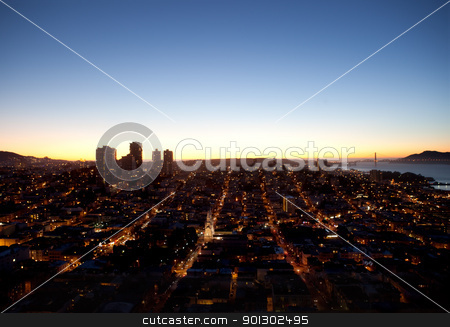 San Francisco Cityscape stock photo, An evening cityscape of San Francisco taken from the Coit Tower by Tyler Olson