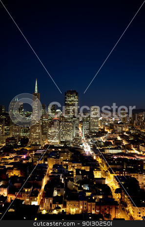 San Francisco Cityscape stock photo, Night cityscape of San Francisco business district by Tyler Olson
