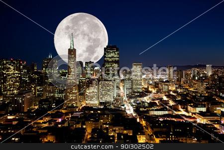 Full Moon stock photo, A full moon over a urban metropolis by Tyler Olson