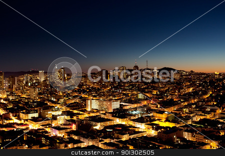 City at Night stock photo, A view of a city at night with a sunset on the horizon - San Jose by Tyler Olson