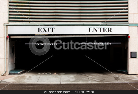 Parkade stock photo, A concrete parkade detail, exit and enter by Tyler Olson