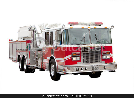 Fire Truck stock photo, A red fire truck isolated on white by Tyler Olson