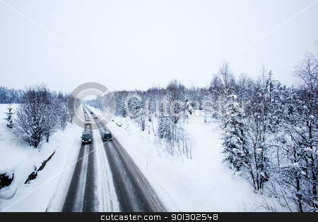 Winter Road stock photo, A road in winter during a snow storm by Tyler Olson