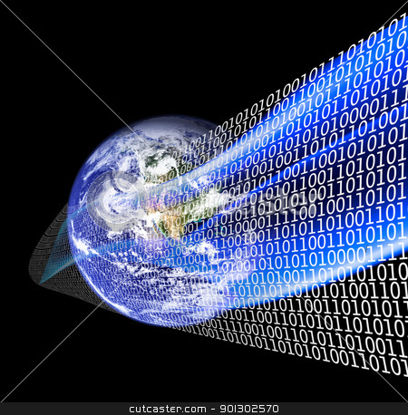 Information Age stock photo, A globe with binary code wrapping it by Tyler Olson