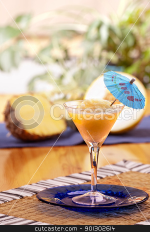 Pina Colada Smoothie stock photo, A refreshing summer drunk - pina colada by Tyler Olson