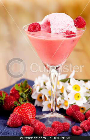 Berry Smoothie stock photo, A summer tread - strawberry and raspberry smoothie with ice cream by Tyler Olson