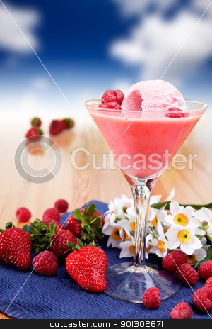 Milk Shake Smoothie stock photo, A fancy glass of milk shake smoothie made from fresh berries by Tyler Olson