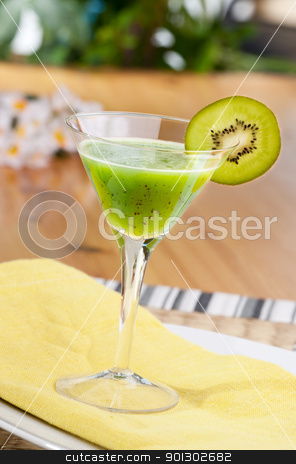 Kiwi Fruit Drink stock photo, A kiwi based fruit drink in a martini glass by Tyler Olson