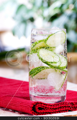 Sparkling Cucumber Water stock photo, A refreshing drink of sparkling cucumber water by Tyler Olson