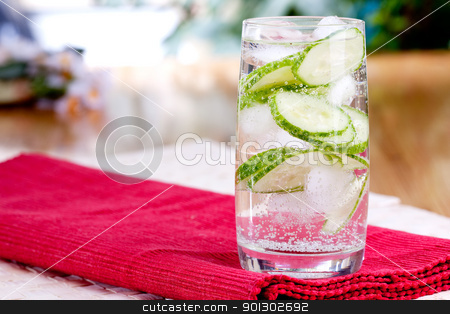 Cucumber Drink stock photo, A refreshing drink of sparkling cucumber water by Tyler Olson