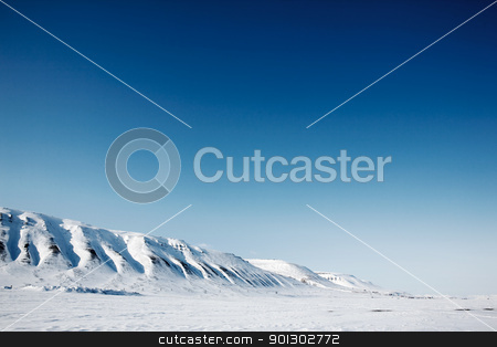 Svalbard landscape stock photo, A winter mountain landscape of the island of Spitsbergen, Svalbard, Norway by Tyler Olson