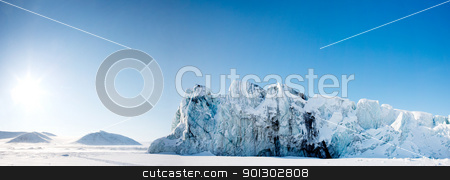Glacier Panorama stock photo, A glacier panorama from the island of Spitsbergen, Svalbard, Norway by Tyler Olson