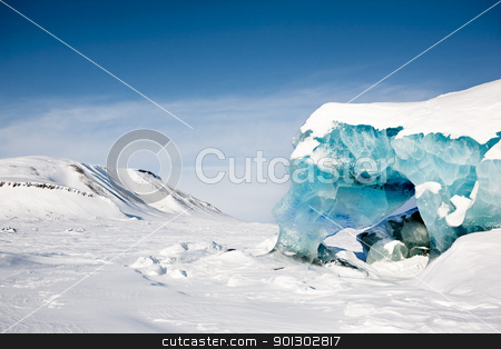 Glacier Detail stock photo, A glacier detail on the island of Spitsbergen, Svalbard, Norway by Tyler Olson