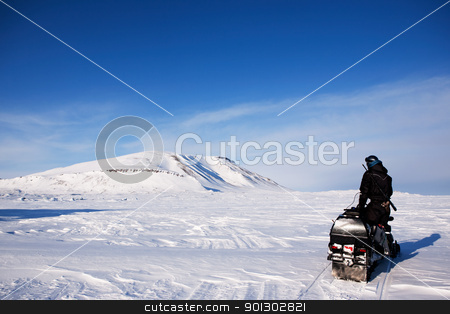 Winter Adventure Guide stock photo, An adventure guide on the island of Spitsbergen, Svalbard, Norway by Tyler Olson