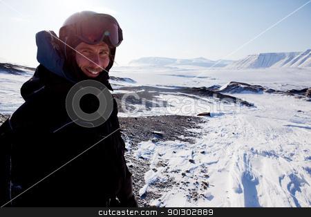 Adventure Guide stock photo, A winter adventure guide on a barren winter landscape by Tyler Olson