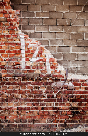 Brick Wall stock photo, A brick and concrete wall with texture by Tyler Olson