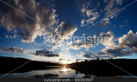 Lake Sunset stock photo, A dramatic sunset on a beautiful lake, Buskerud, Norway by Tyler Olson