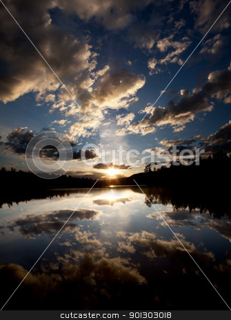 Lake Sunset stock photo, A dramatic sunset on a beautiful lake, Buskerud, Norway by Tyler Olson