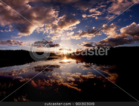 Lake stock photo, A dramatic sunset on a beautiful lake, Buskerud, Norway by Tyler Olson