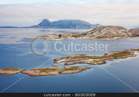 Norway Coast stock photo, An aerial of the coast of northern Norway by Tyler Olson