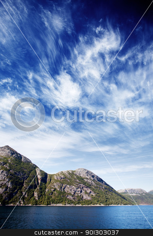 Norway Fjord Landscape stock photo, Mountains on a coastal landscape in northern Norway by Tyler Olson