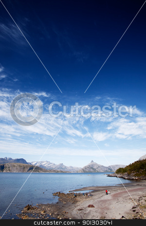 Norwegian Coast stock photo, A small beach area in northern Norway by Tyler Olson