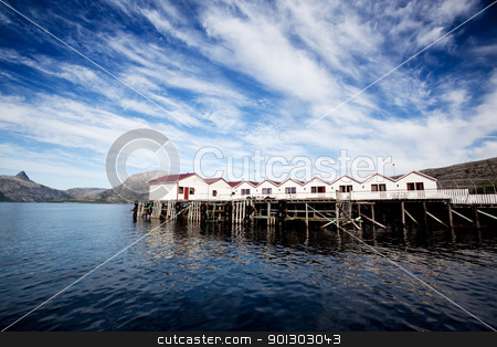 Norway Cabin stock photo, A group of small cabins on the coast of Norway by Tyler Olson