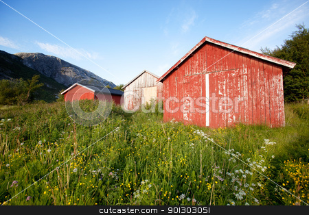Boat House Norway stock photo, A group of old boat houses on the coast of Norway by Tyler Olson