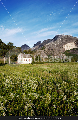 Rural Norway House stock photo, A house in rural Norway at the foot of a mountain by Tyler Olson
