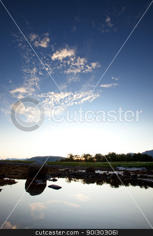 Sky Reflection stock photo, A calm pool of water reflection the landscape behind by Tyler Olson