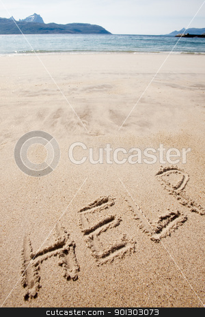 Help stock photo, Help written in the sand on a deserted island by Tyler Olson