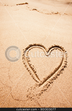 Heart Sand Beach stock photo, A heart drawn in the sand on a beak by Tyler Olson
