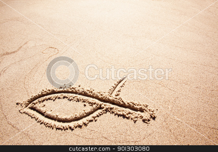 Fish Sand Symbol stock photo, A fish symbol in drawn in the sand by Tyler Olson